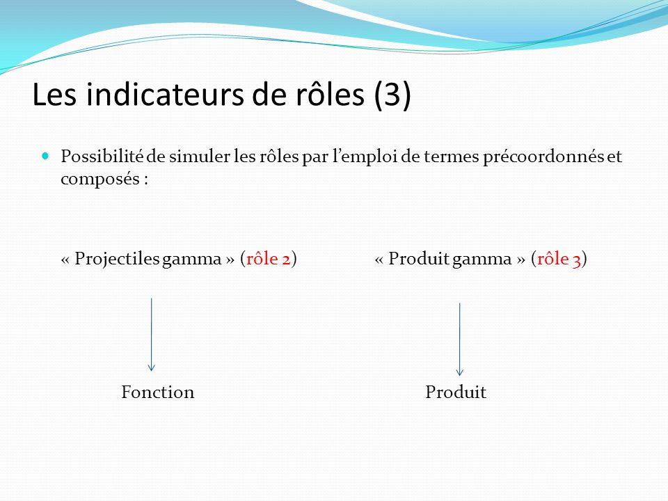 Les indicateurs de rôles (3) Possibilité de simuler les rôles par lemploi de termes précoordonnés et composés : « Projectiles gamma » (rôle 2)« Produit gamma » (rôle 3) Fonction Produit