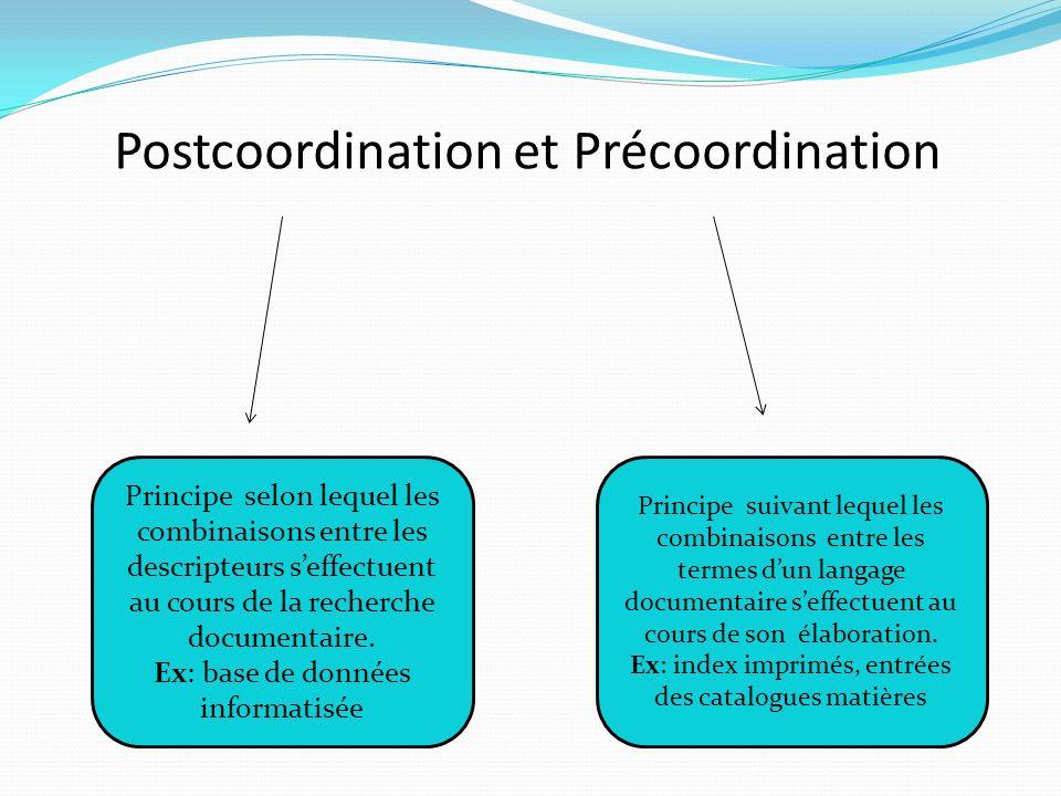 Postcoordination et Précoordination Principe selon lequel les combinaisons entre les descripteurs seffectuent au cours de la recherche documentaire.