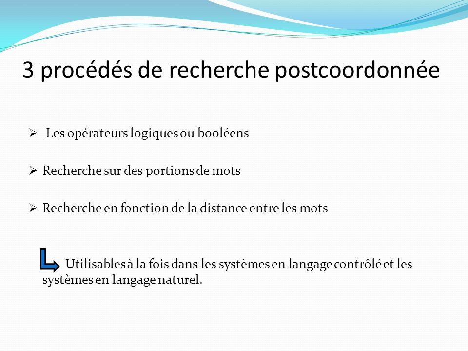 3 procédés de recherche postcoordonnée Les opérateurs logiques ou booléens Recherche sur des portions de mots Recherche en fonction de la distance entre les mots Utilisables à la fois dans les systèmes en langage contrôlé et les systèmes en langage naturel.
