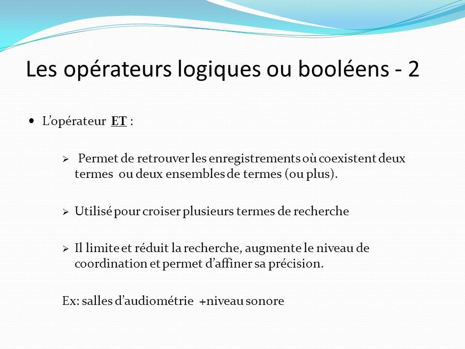 Les opérateurs logiques ou booléens - 2 Lopérateur ET : Permet de retrouver les enregistrements où coexistent deux termes ou deux ensembles de termes (ou plus).