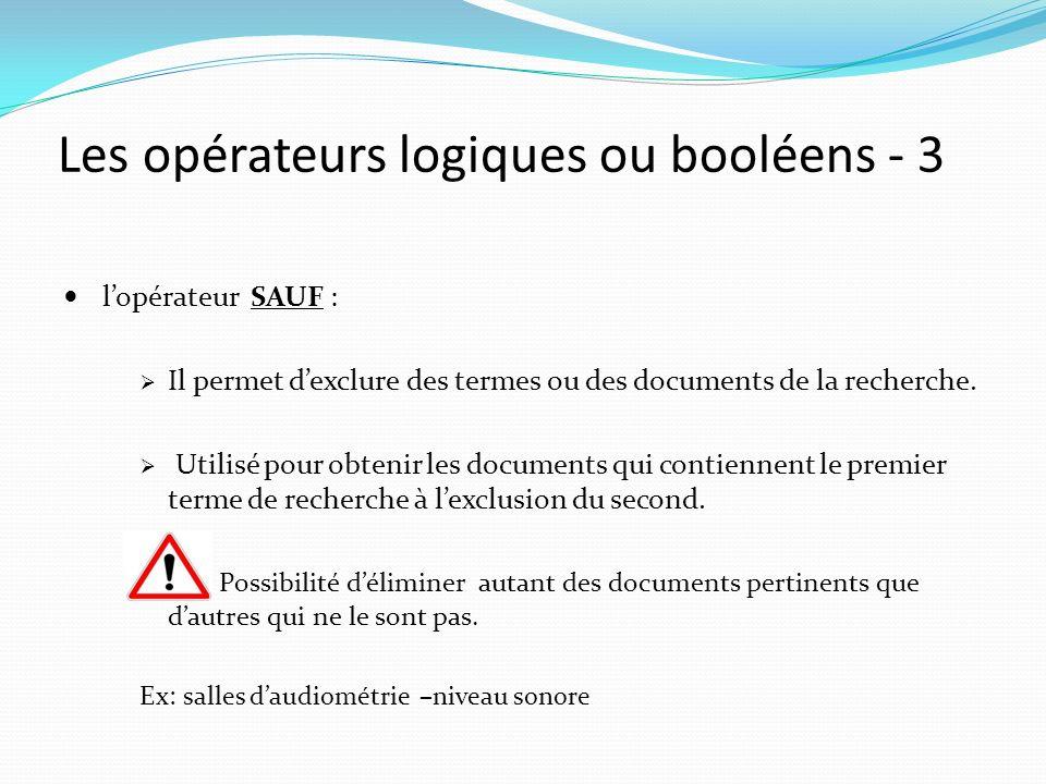 Les opérateurs logiques ou booléens - 3 lopérateur SAUF : Il permet dexclure des termes ou des documents de la recherche.