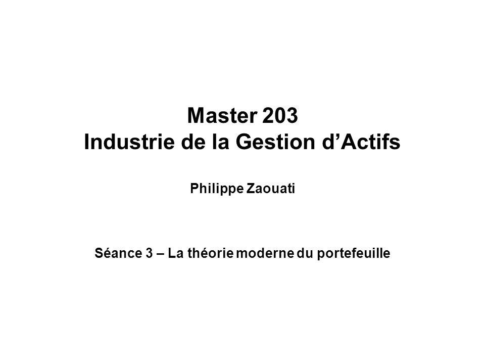 Master 203 Industrie de la Gestion dActifs Philippe Zaouati Séance 3 – La théorie moderne du portefeuille