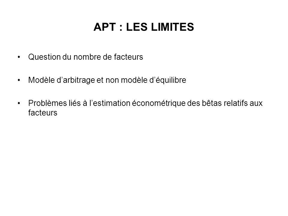 APT : LES LIMITES Question du nombre de facteurs Modèle darbitrage et non modèle déquilibre Problèmes liés à lestimation économétrique des bêtas relat