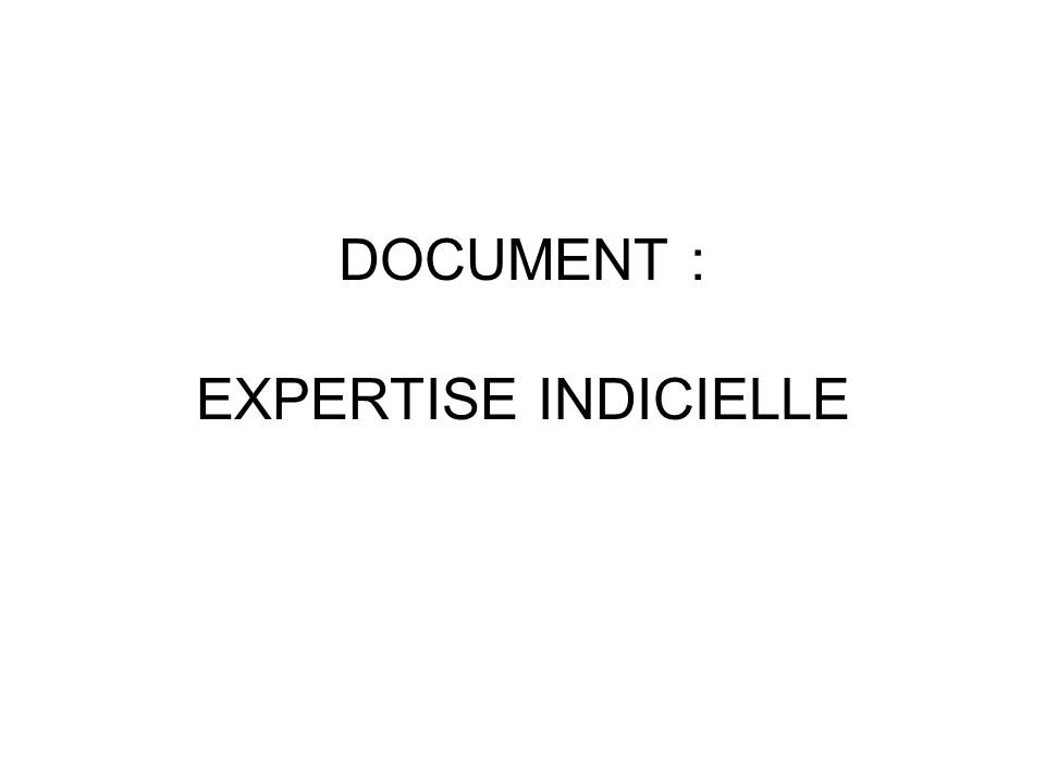 DOCUMENT : EXPERTISE INDICIELLE