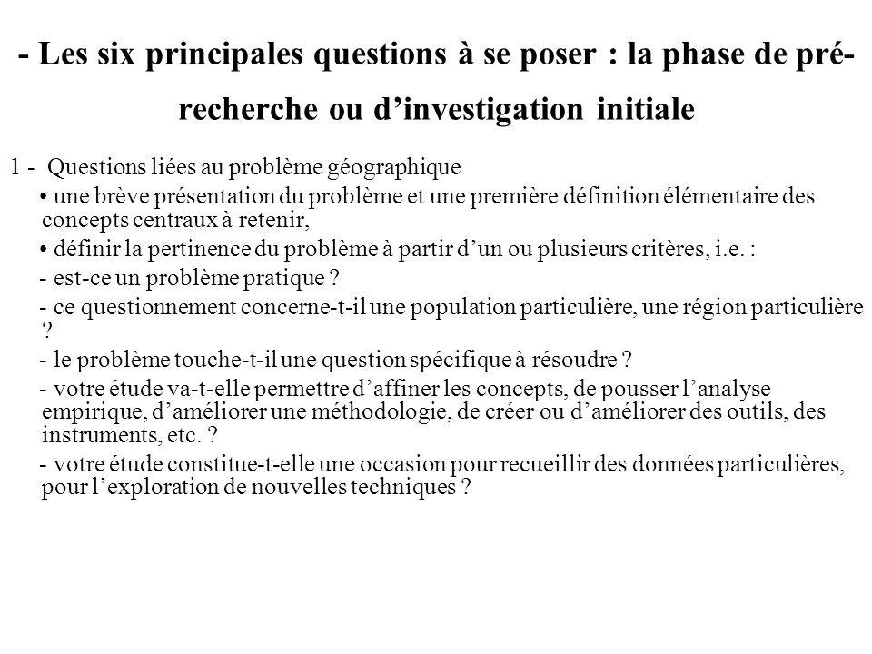 - Les six principales questions à se poser : la phase de pré- recherche ou dinvestigation initiale 1 - Questions liées au problème géographique une br