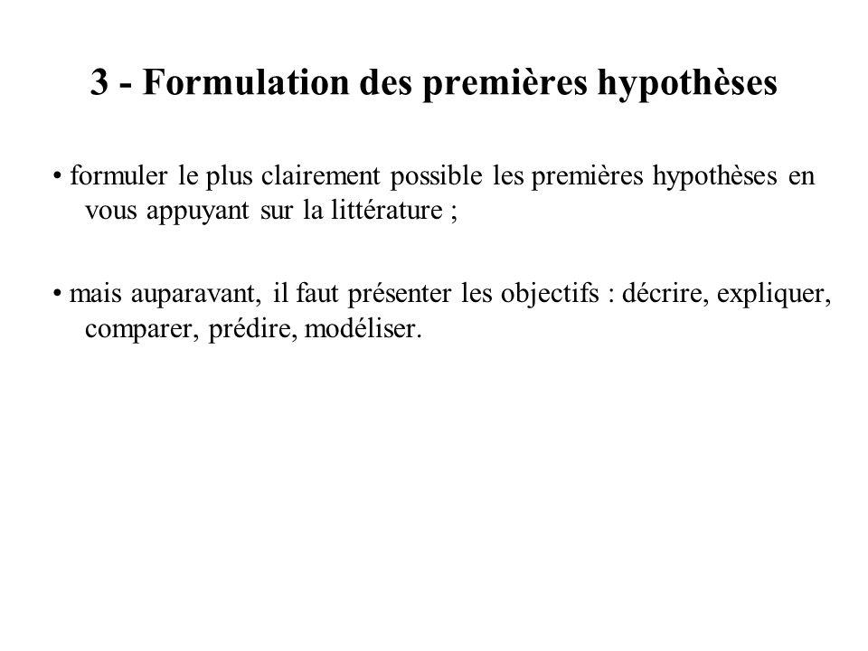 3 - Formulation des premières hypothèses formuler le plus clairement possible les premières hypothèses en vous appuyant sur la littérature ; mais aupa