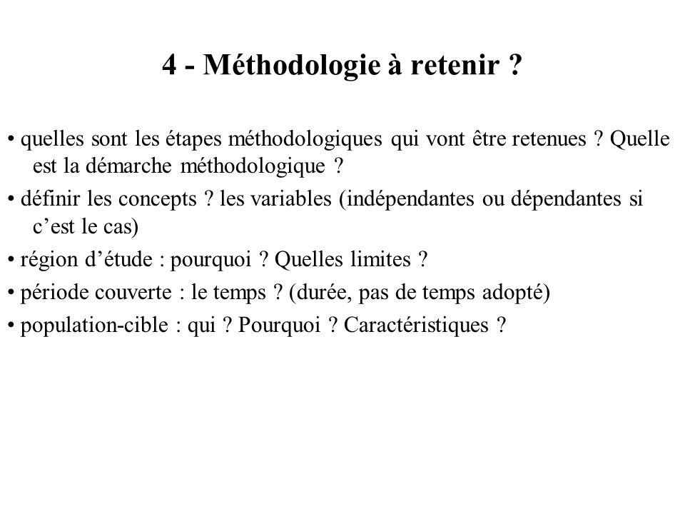 4 - Méthodologie à retenir ? quelles sont les étapes méthodologiques qui vont être retenues ? Quelle est la démarche méthodologique ? définir les conc
