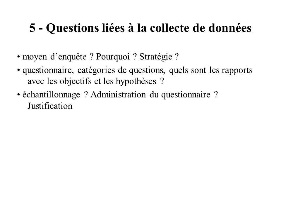 5 - Questions liées à la collecte de données moyen denquête ? Pourquoi ? Stratégie ? questionnaire, catégories de questions, quels sont les rapports a
