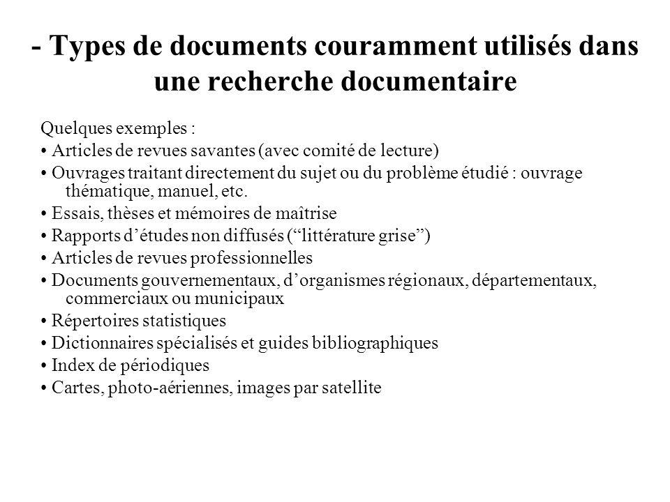 - Types de documents couramment utilisés dans une recherche documentaire Quelques exemples : Articles de revues savantes (avec comité de lecture) Ouvr