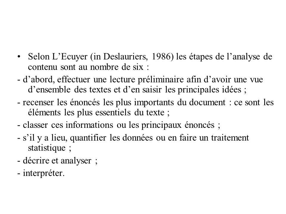 Selon LEcuyer (in Deslauriers, 1986) les étapes de lanalyse de contenu sont au nombre de six : - dabord, effectuer une lecture préliminaire afin davoi
