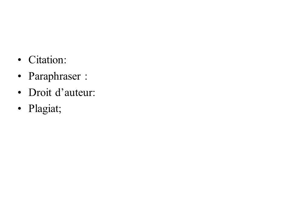 Citation: Paraphraser : Droit dauteur: Plagiat;