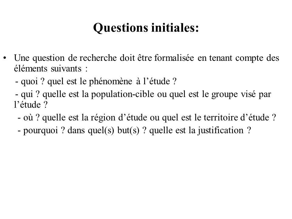 Questions initiales: Une question de recherche doit être formalisée en tenant compte des éléments suivants : - quoi ? quel est le phénomène à létude ?