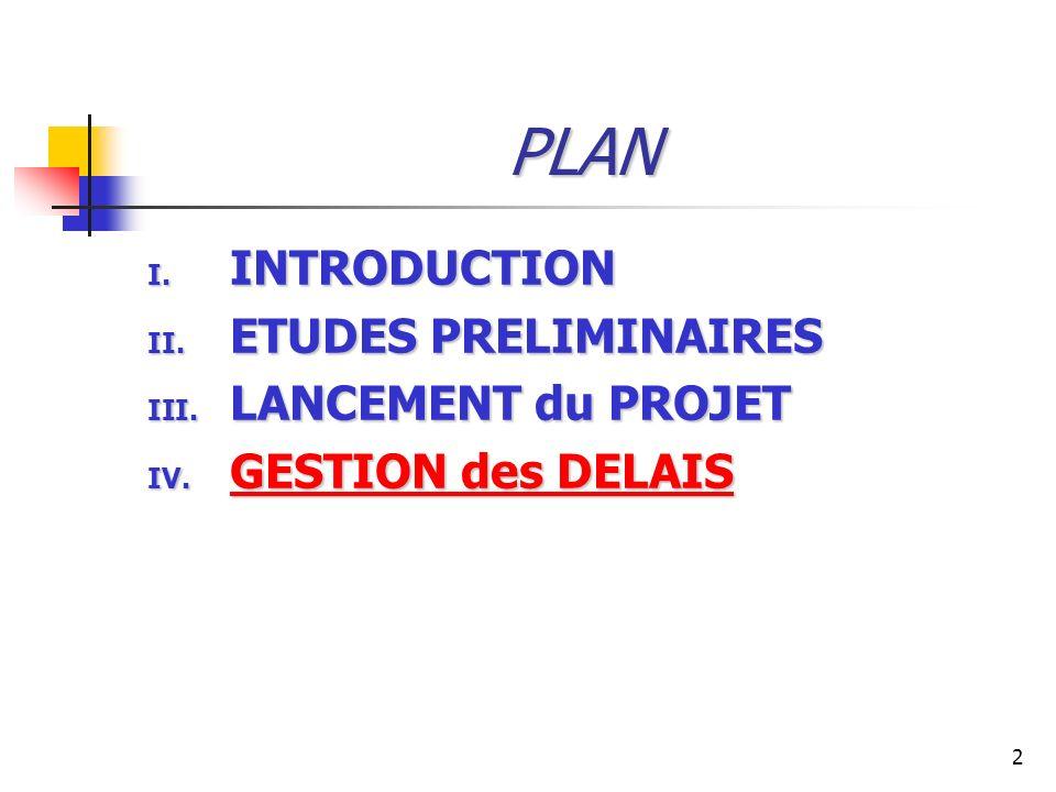 2 PLAN I. INTRODUCTION II. ETUDES PRELIMINAIRES III. LANCEMENT du PROJET IV. GESTION des DELAIS