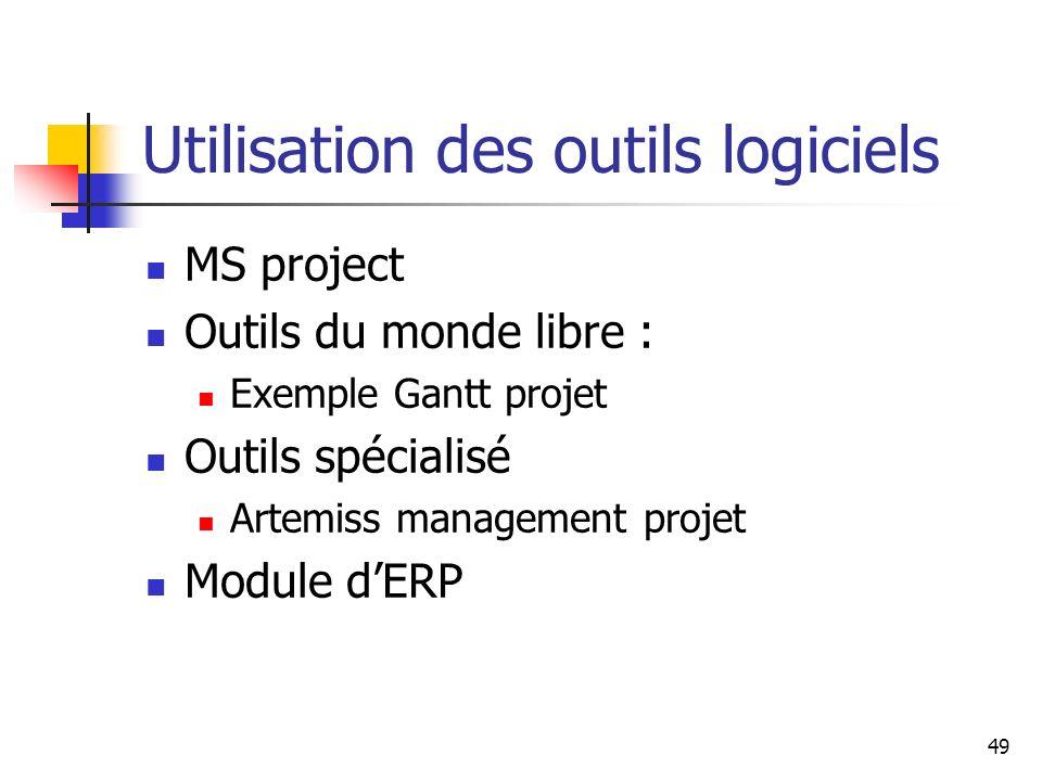 49 Utilisation des outils logiciels MS project Outils du monde libre : Exemple Gantt projet Outils spécialisé Artemiss management projet Module dERP
