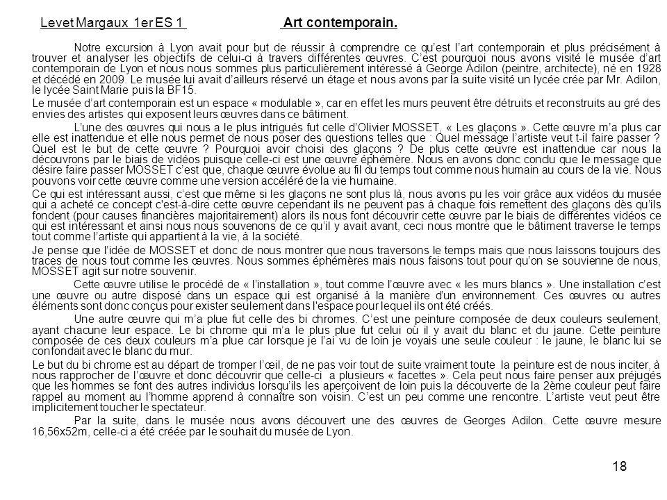 18 Levet Margaux 1er ES 1 Art contemporain. Notre excursion à Lyon avait pour but de réussir à comprendre ce quest lart contemporain et plus préciséme