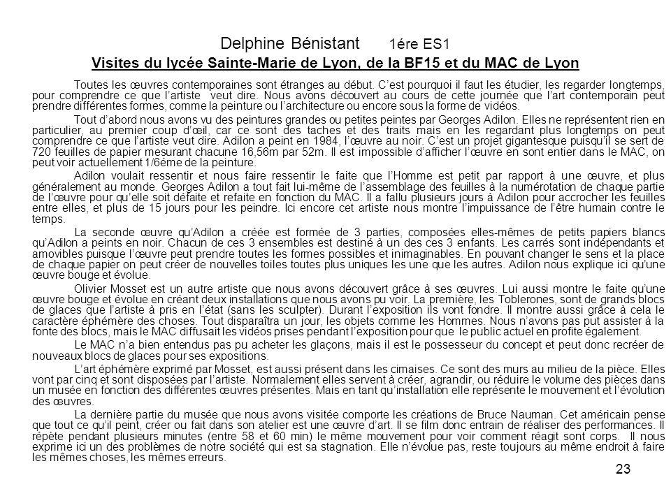 23 Delphine Bénistant 1ére ES1 Visites du lycée Sainte-Marie de Lyon, de la BF15 et du MAC de Lyon Toutes les œuvres contemporaines sont étranges au d