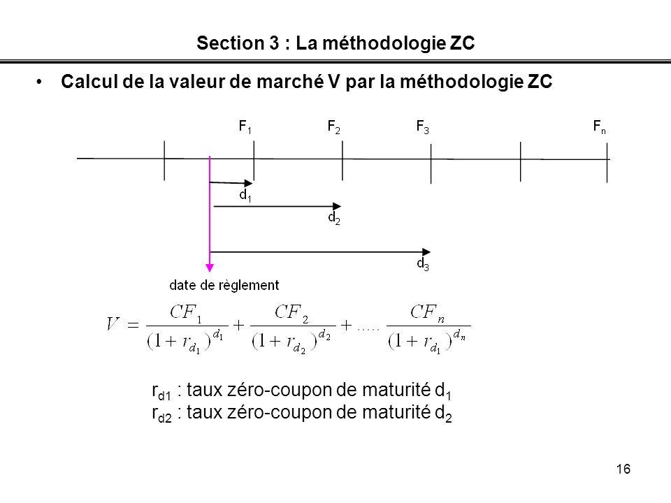 16 Section 3 : La méthodologie ZC Calcul de la valeur de marché V par la méthodologie ZC r d1 : taux zéro-coupon de maturité d 1 r d2 : taux zéro-coup