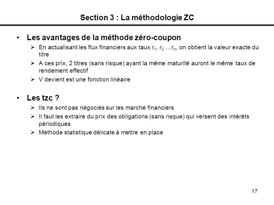 17 Section 3 : La méthodologie ZC Les avantages de la méthode zéro-coupon En actualisant les flux financiers aux taux r 1, r 2 …r n, on obtient la val