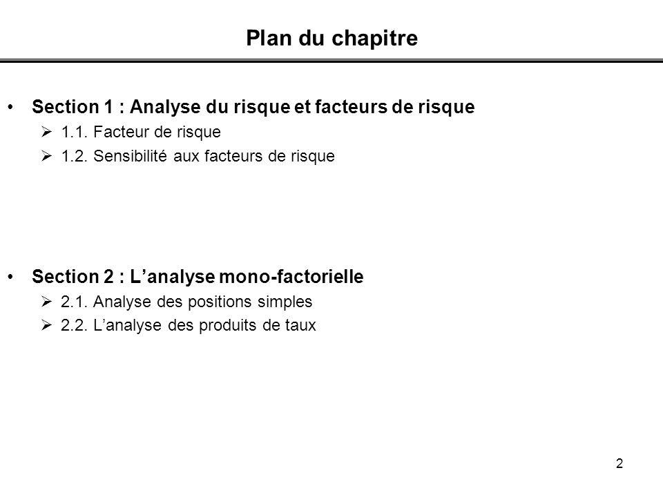 3 Section 1 : Analyse du risque et facteur de risque Introduction Valeur nominale = cte V, valeur de marché varie ; fluctuations => risque de perte Risque de marché = .