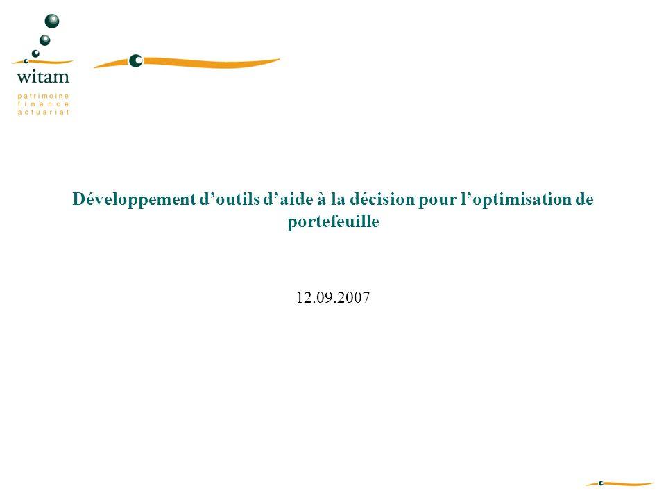 Développement doutils daide à la décision pour loptimisation de portefeuille 12.09.2007