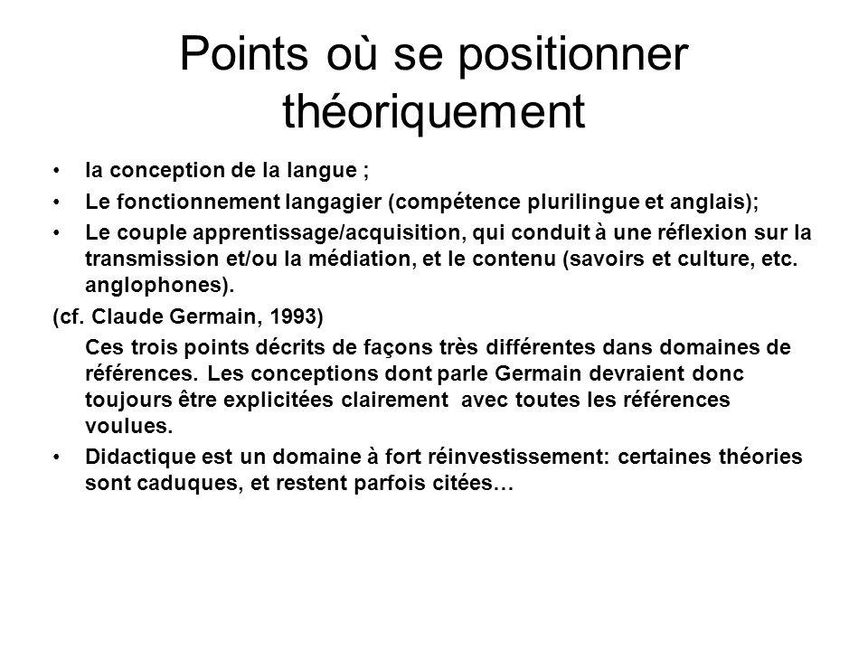 Points où se positionner théoriquement la conception de la langue ; Le fonctionnement langagier (compétence plurilingue et anglais); Le couple apprent