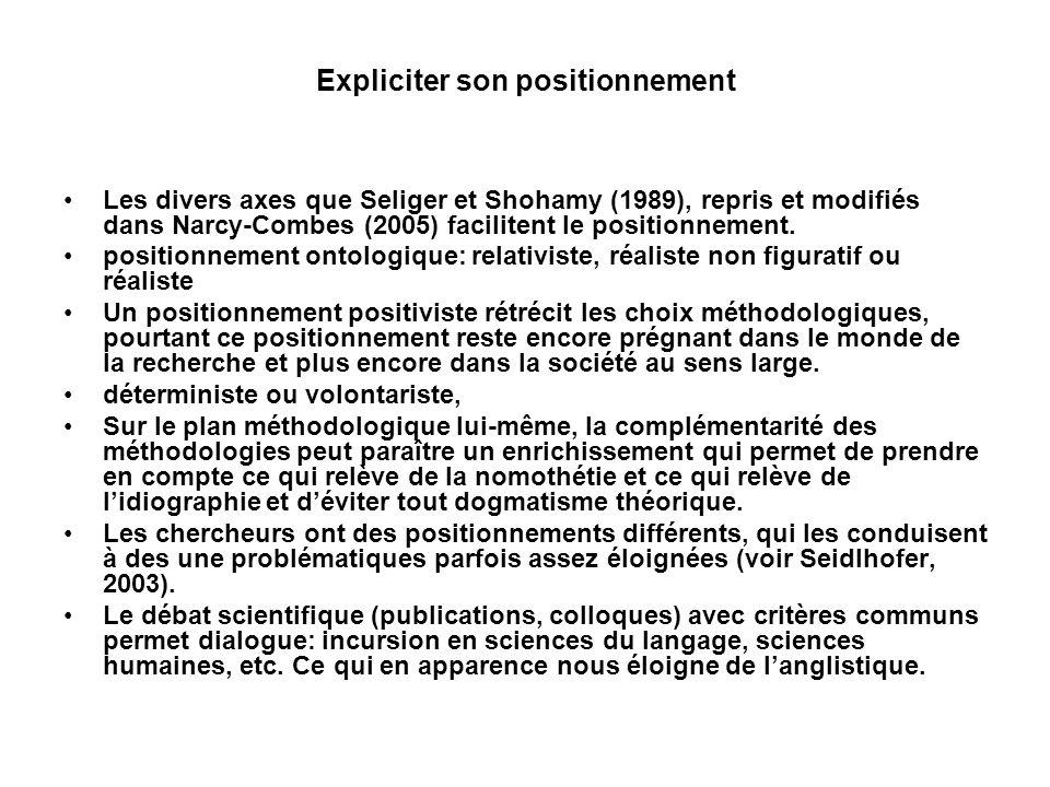 Expliciter son positionnement Les divers axes que Seliger et Shohamy (1989), repris et modifiés dans Narcy-Combes (2005) facilitent le positionnement.