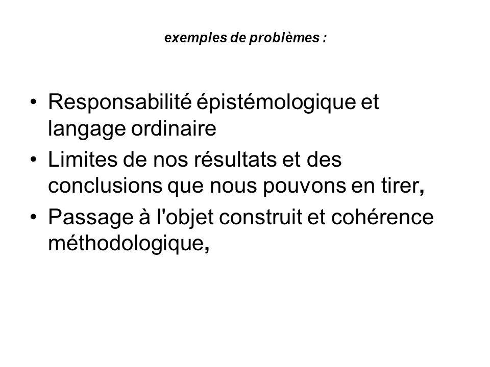 exemples de problèmes : Responsabilité épistémologique et langage ordinaire Limites de nos résultats et des conclusions que nous pouvons en tirer, Pas