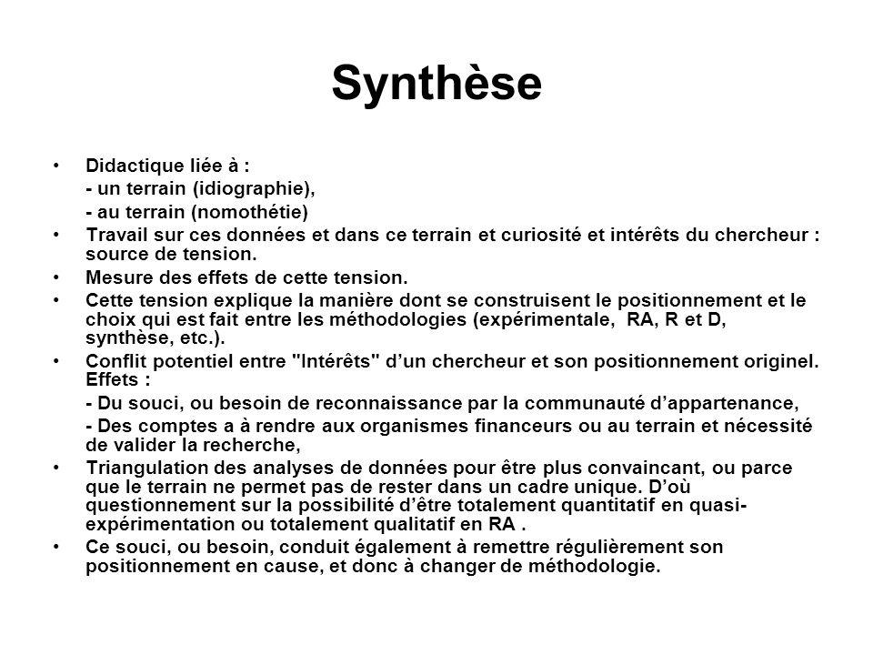 Synthèse Didactique liée à : - un terrain (idiographie), - au terrain (nomothétie) Travail sur ces données et dans ce terrain et curiosité et intérêts
