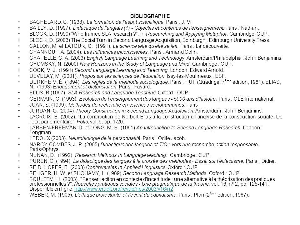 BIBLIOGRAPHIE BACHELARD, G. (1938). La formation de l'esprit scientifique. Paris : J. Vr BAILLY, D. (1997). Didactique de l'anglais (1) - Objectifs et