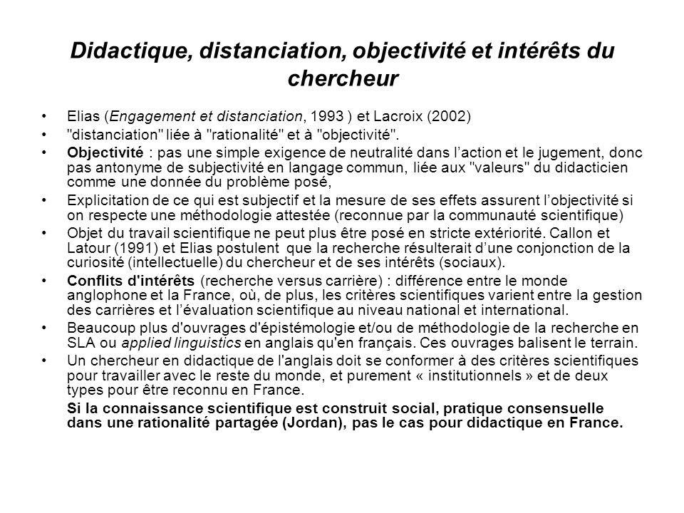 Didactique, distanciation, objectivité et intérêts du chercheur Elias (Engagement et distanciation, 1993 ) et Lacroix (2002)
