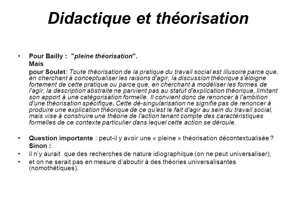 Didactique et théorisation Pour Bailly :