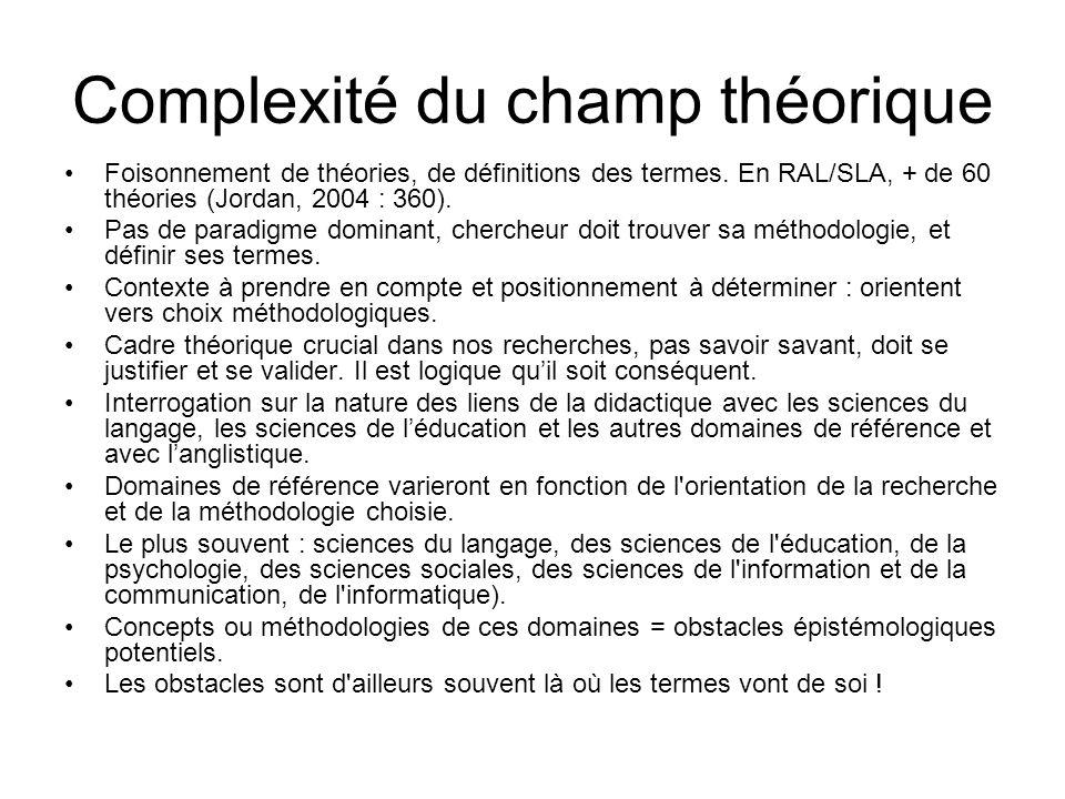 Complexité du champ théorique Foisonnement de théories, de définitions des termes. En RAL/SLA, + de 60 théories (Jordan, 2004 : 360). Pas de paradigme