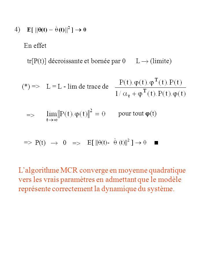 4) En effet tr[P(t)] décroissante et bornée par 0 L (limite) (*) => L = L - lim de trace de => pour tout (t) => P(t) 0 => Lalgorithme MCR converge en