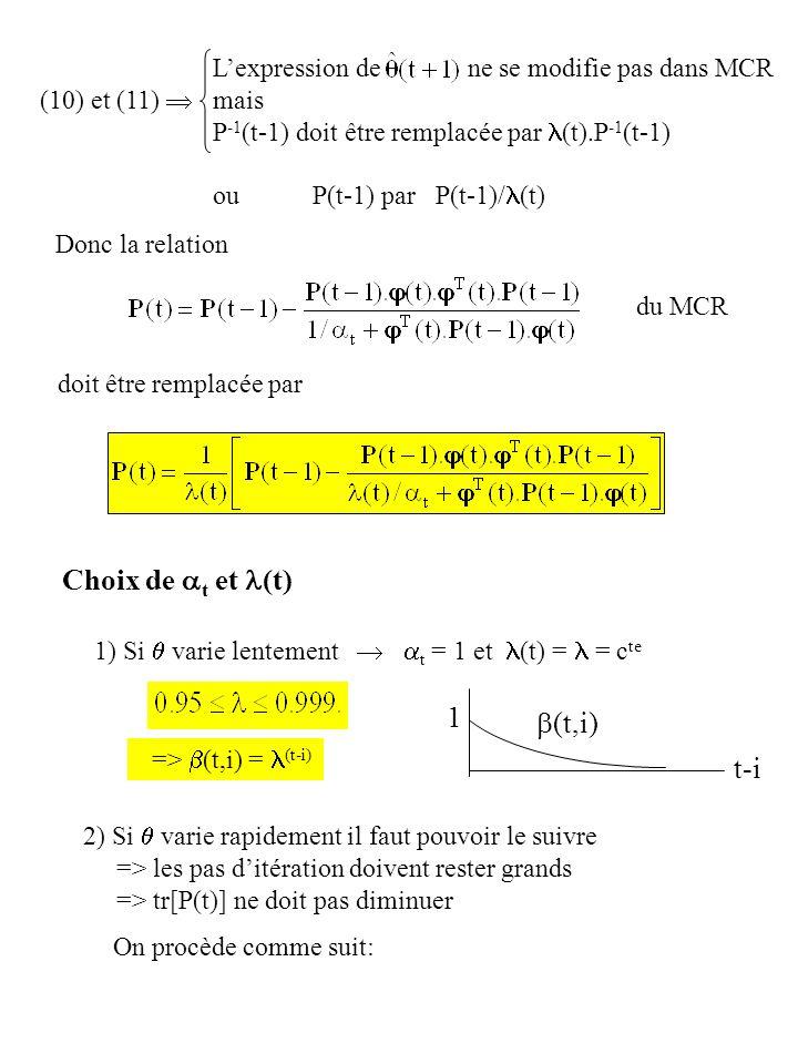 du MCR doit être remplacée par Donc la relation (10) et (11) Lexpression de ne se modifie pas dans MCR mais P -1 (t-1) doit être remplacée par (t).P -