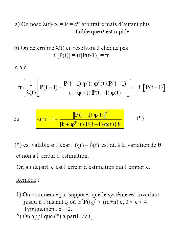 a) On pose (t)/ t = k = c te arbitraire mais dautant plus faible que est rapide b) On détermine (t) en résolvant à chaque pas tr[P(t)] = tr[P(t-1)] =