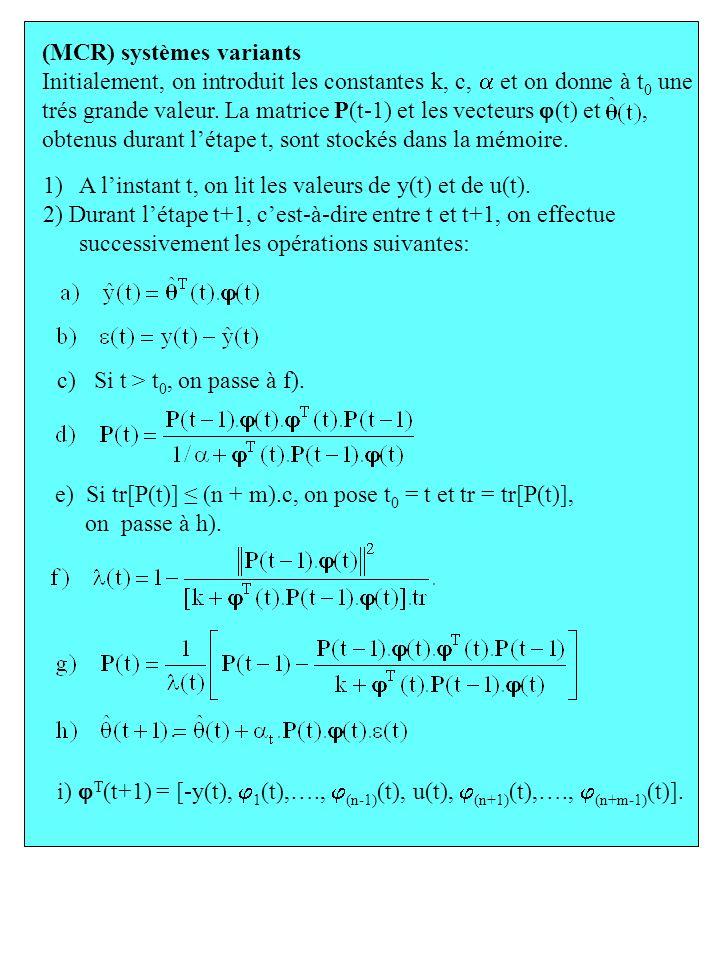 1)A linstant t, on lit les valeurs de y(t) et de u(t). 2) Durant létape t+1, cest-à-dire entre t et t+1, on effectue successivement les opérations sui