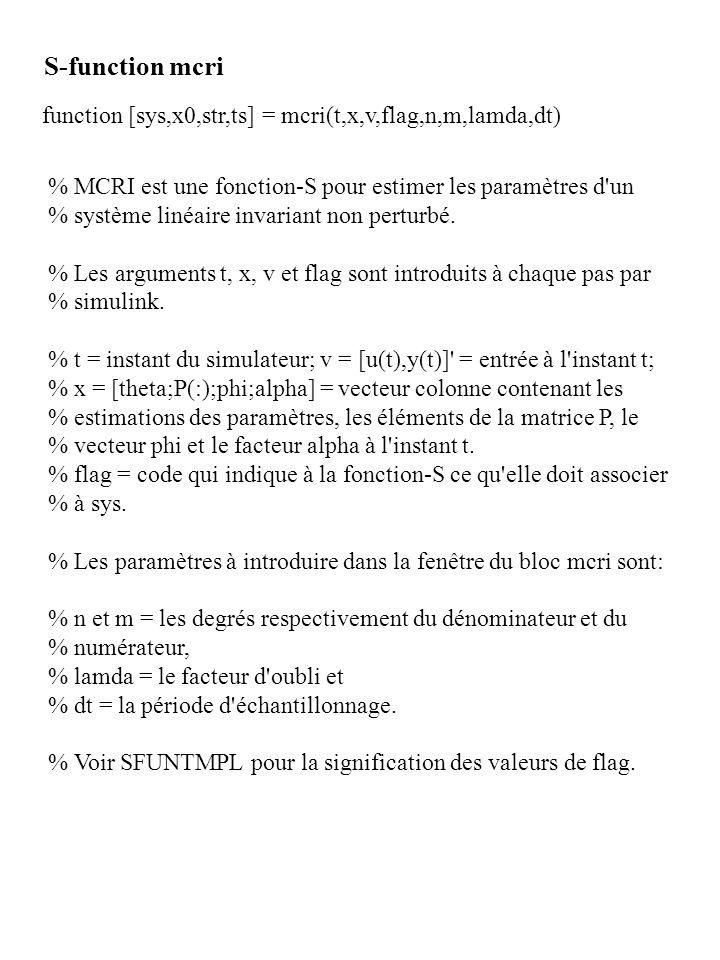 function [sys,x0,str,ts] = mcri(t,x,v,flag,n,m,lamda,dt) S-function mcri % MCRI est une fonction-S pour estimer les paramètres d'un % système linéaire