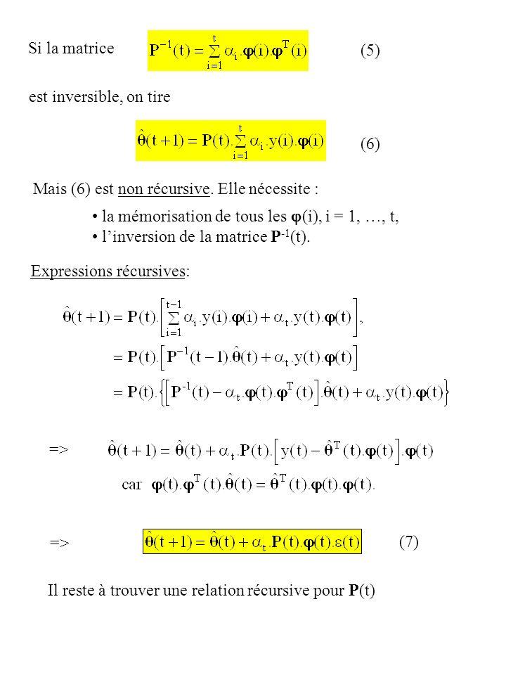 Si la matrice est inversible, on tire (6) Mais (6) est non récursive. Elle nécessite : la mémorisation de tous les (i), i = 1, …, t, linversion de la