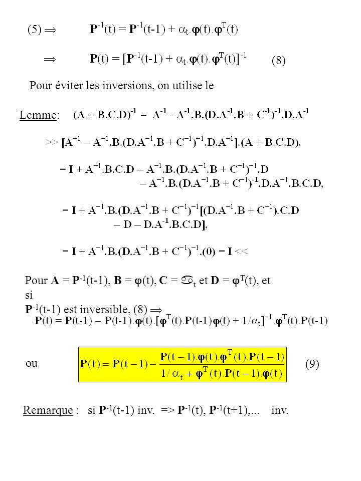 Pour éviter les inversions, on utilise le Lemme: Pour A = P -1 (t-1), B = (t), C = a t et D = T (t), et si P -1 (t-1) est inversible, (8) (8) ou Remar