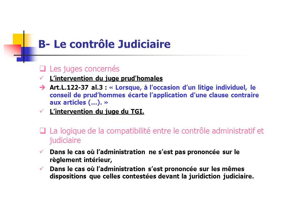 B- Le contrôle Judiciaire Les juges concernés Lintervention du juge prud'homales Art.L.122-37 al.3 : « Lorsque, à loccasion dun litige individuel, le