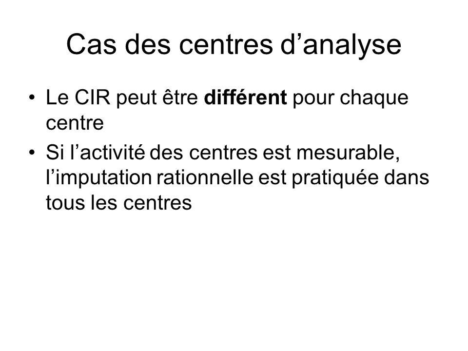 Cas des centres danalyse Le CIR peut être différent pour chaque centre Si lactivité des centres est mesurable, limputation rationnelle est pratiquée d