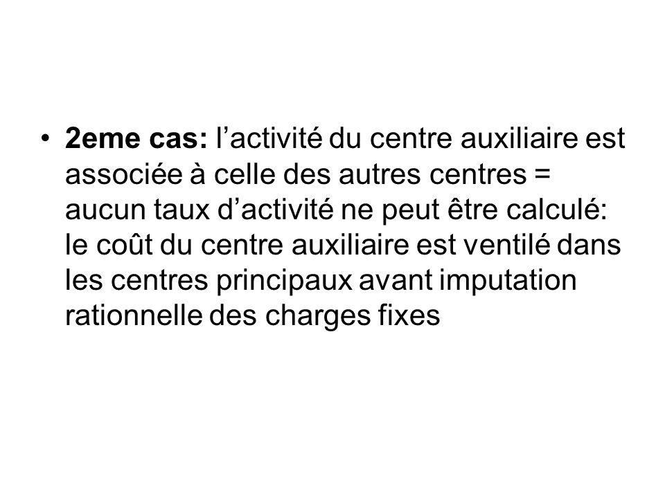 2eme cas: lactivité du centre auxiliaire est associée à celle des autres centres = aucun taux dactivité ne peut être calculé: le coût du centre auxili