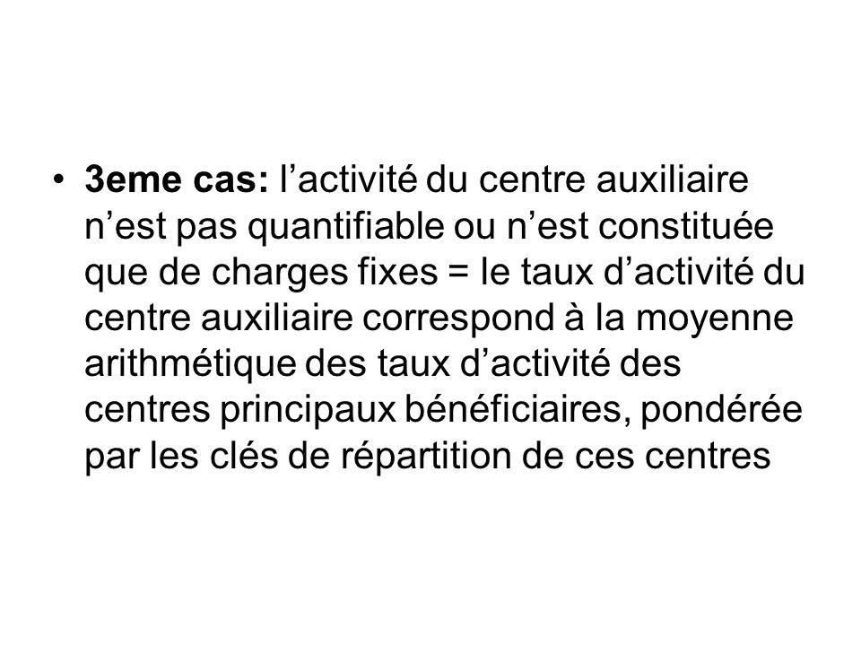 3eme cas: lactivité du centre auxiliaire nest pas quantifiable ou nest constituée que de charges fixes = le taux dactivité du centre auxiliaire corres