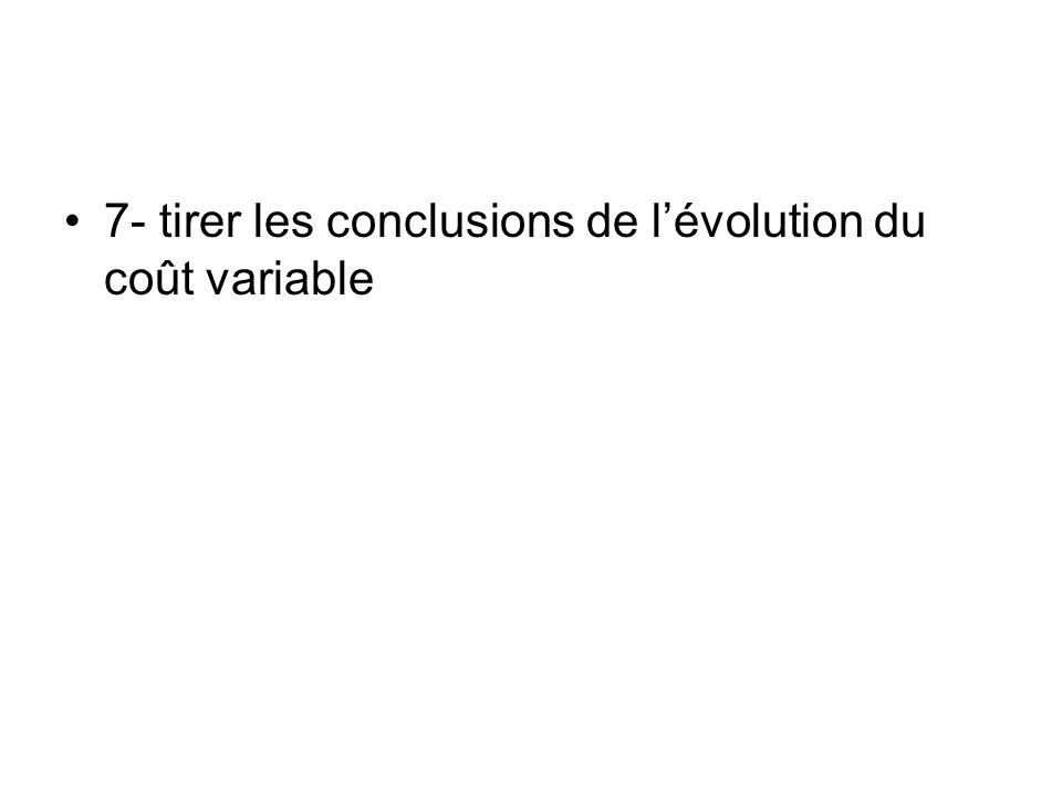 7- tirer les conclusions de lévolution du coût variable