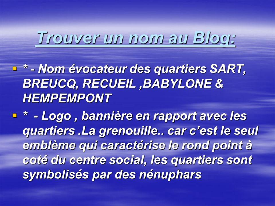 Trouver un nom au Blog: * - Nom évocateur des quartiers SART, BREUCQ, RECUEIL,BABYLONE & HEMPEMPONT * - Nom évocateur des quartiers SART, BREUCQ, RECU