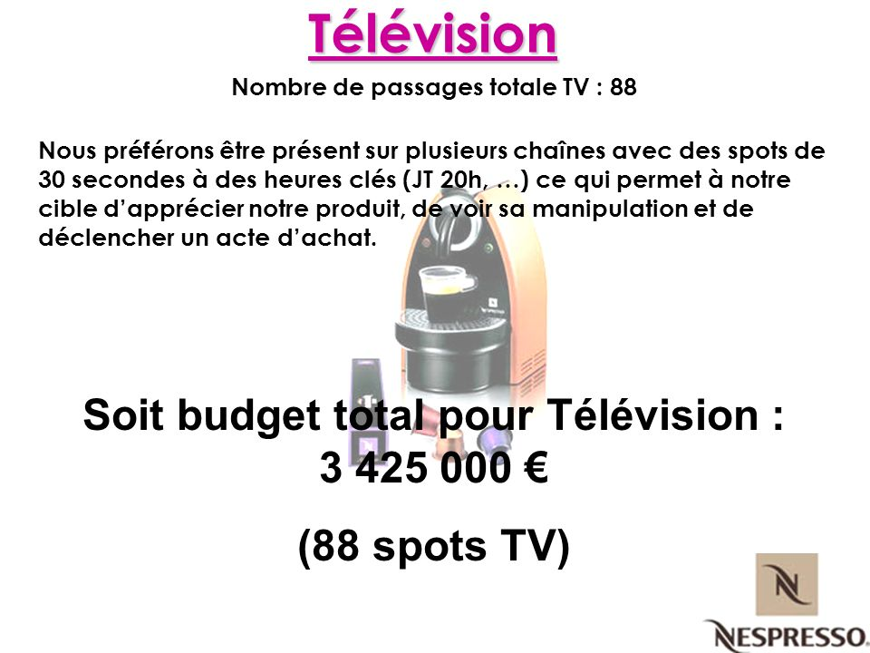 Nombre de passages totale TV : 88 Nous préférons être présent sur plusieurs chaînes avec des spots de 30 secondes à des heures clés (JT 20h, …) ce qui