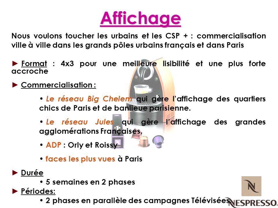 Affichage Nous voulons toucher les urbains et les CSP + : commercialisation ville à ville dans les grands pôles urbains français et dans Paris Format
