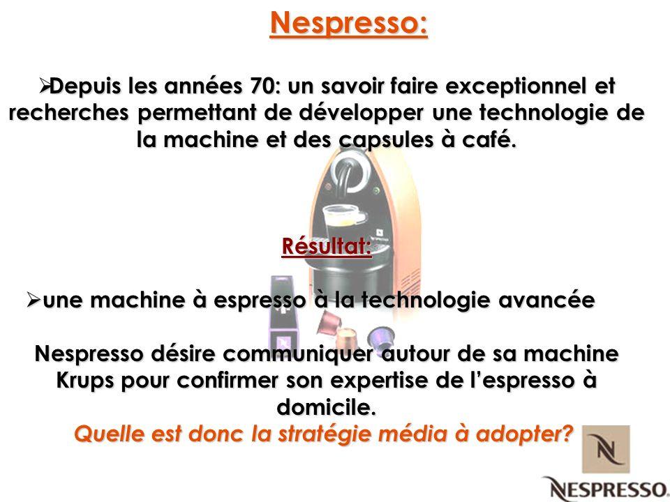 Nespresso: Nespresso: Depuis les années 70: un savoir faire exceptionnel et recherches permettant de développer une technologie de la machine et des c
