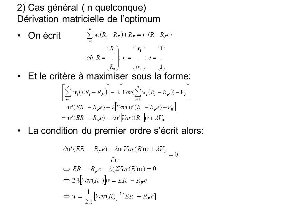 2) Cas général ( n quelconque) Dérivation matricielle de loptimum On écrit Et le critère à maximiser sous la forme: La condition du premier ordre sécr