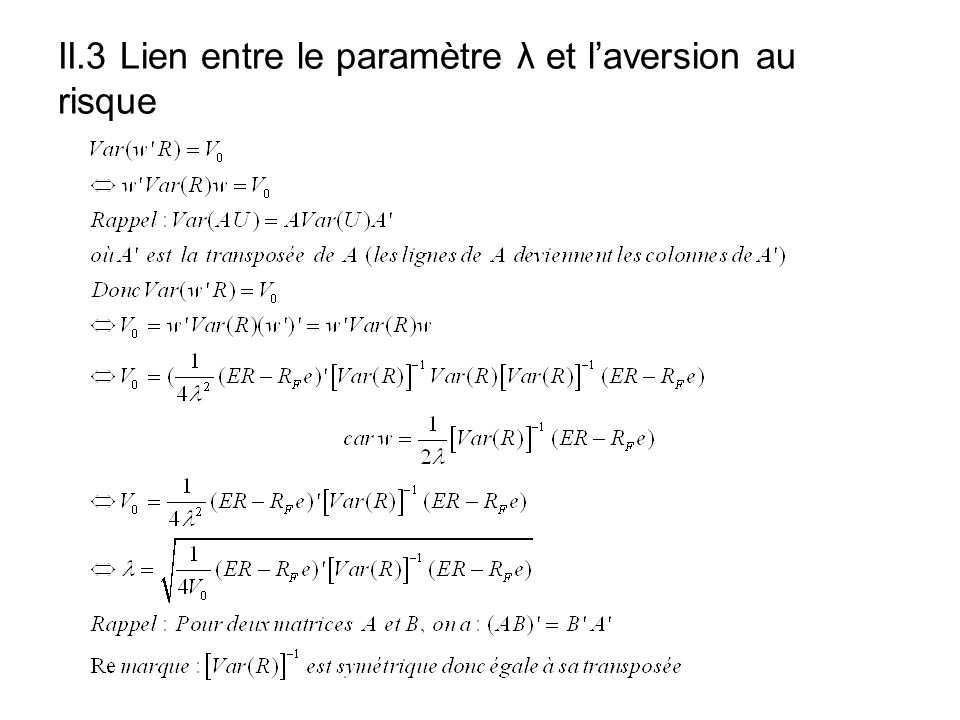II.3 Lien entre le paramètre λ et laversion au risque